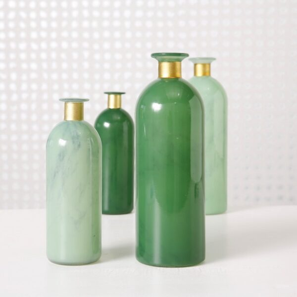Vase-collection-of-green-bottles-with-gold-Signature Editions