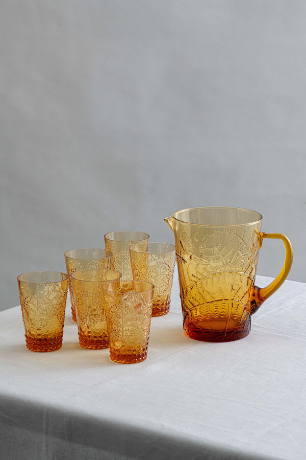 Fern pitcher and Florence glass set - amber - Signature Editions